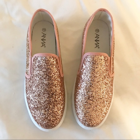 140011dddab131 Rosegold Glitter Slip Ons! ANNA Vans